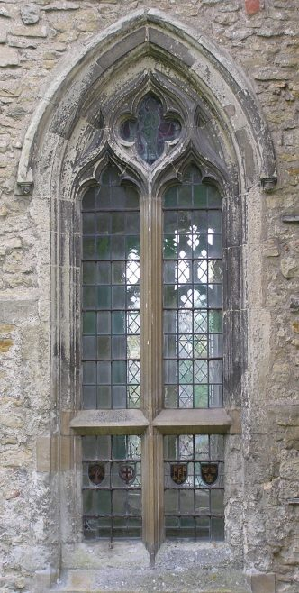 The northwest window of the chancel marks the next stage in which the geometric form of the oculus (circle) at the head of the window is now absorbed into continuously flowing tracery. The transom (horizontal bar) would have allowed the lower part of the window to have opening shutters, a feature common in secular building but unusual in churches. | Peter Draper