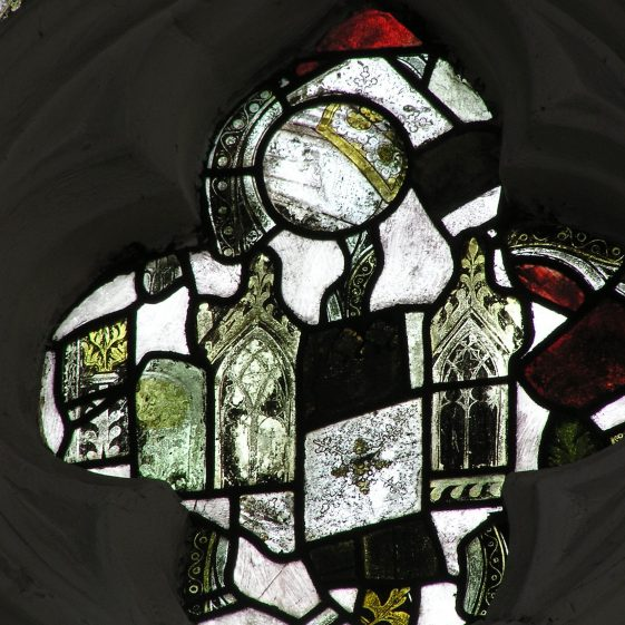 Fragments of medieval stained glass in northwest window of nave | Peter Draper