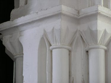 Scallop capitals on the arch from the nave into the tower | Peter Draper