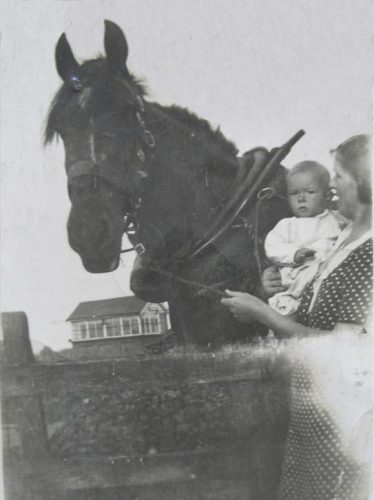 Kathleen Winter with her mother Mildred in 1938 with 'Tom' one of the horses who worked in the Goods Yard.  Kathleen remembers having rides on Tom's back.  Note the signal box in the background. | Kathleen Murdon