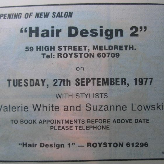 An advertisement for the opening of Hair Design 2 in 1977 | Meldreth WI
