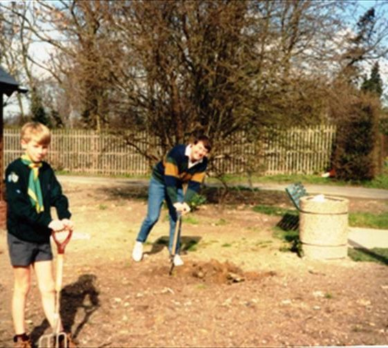 Tree planting at the newly modernised Village Hall, corner of Elin Way and High Street, Meldreth.  c. 1991 | Photo supplied by Ron Comben
