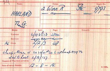 Thomas Harland's medal card | British Army WW1 Medal Rolls Index Cards, 1914-1920 - Ancestry.com