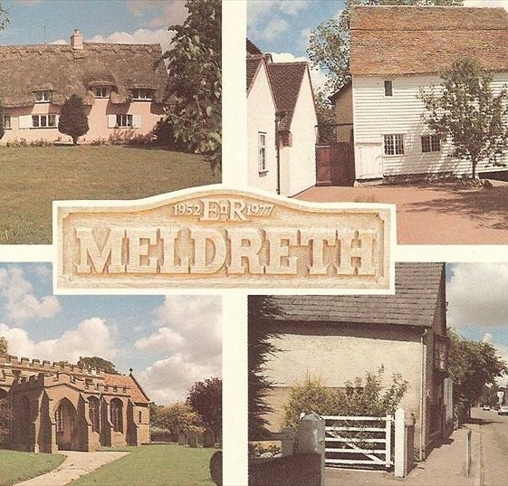 Postcard showing multiviews of Meldreth, including view of High Street in bottom r/h corner.  1977 | Photo supplied by Kathryn Betts