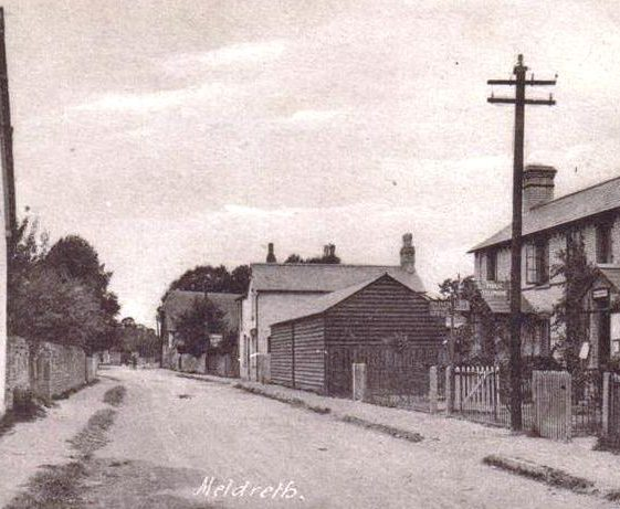 High Street, Meldreth showing former Post Office on r/h side. c.1918 | Photo supplied by Joan Gane