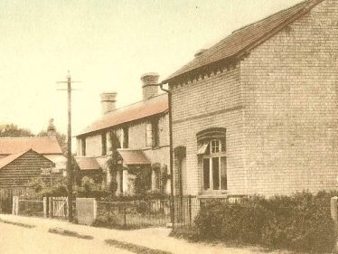 Foreground: the bakehouse operated by David Adcock | Postcard supplied by Ann Handscombe