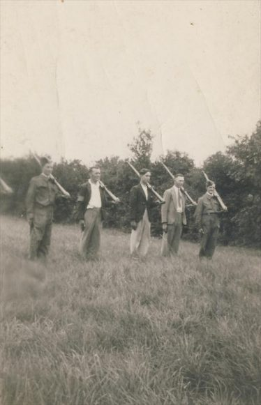 The Home Guard in Meldreth.  Leslie Pepper is on the far right. | Photograph supplied by Brian Pepper