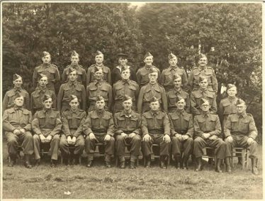 Home Guard, Meldreth - No.19 Platoon, 4th Battalion, C Company, Cambridgeshire Regiment. Leslie Pepper is second from the left, front row | Photo supplied by Brian Pepper