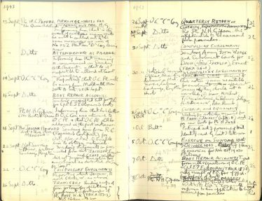 Pages from the Home Guard Diary<br> Clicking on the image will open a pdf showing all pages from the diary
