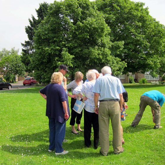 Flambards Green: Members of Meldreth Local History Group visit the site | Photograph by Malcolm Woods