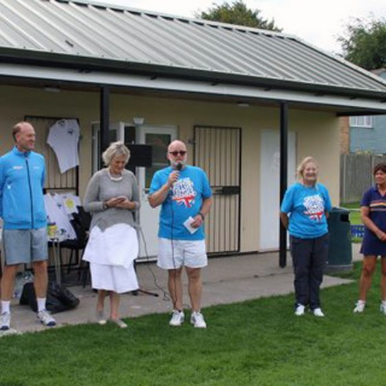 The opening of the new courts, 12th August 2017. From left to right: Gerry Cottrell, a LTA Representative, Philippa Hart, Richard Evans, Christine Knight, Tracy Aggett, Hilary Marsh | Photograph by Malcolm Woods