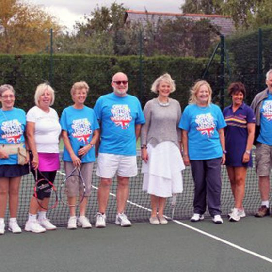 Meldreth Tennis Club Committee members with District Councillor Philippa Hart at the re-opening of the courts, 12th August 2017. From left to right: Jan Butchers, Jo Kitteridge, Hilary Marsh, Richard Evans, Philippa Hart, Christine Knight, Tracy Aggett, Jerry Cottrell | Photograph by Malcolm Woods