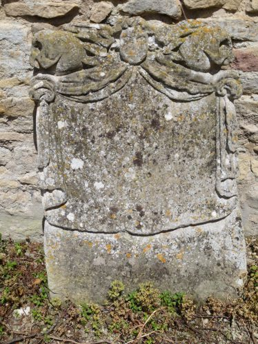 The gravestone of William Surples: Here lieth/ Body of WILLIAM SURPLES/ of Meldreth in the County of/ Cambridge. Yeoman who died (June 2) 1691/Aged .. years leaving/ issue 4 daughters/MARY, SARAH SURPLES/ELIZABETH SUSANNAH | Photograph by Malcolm Woods