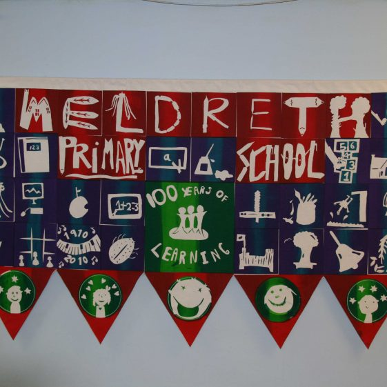 The screen-printed banner produced by pupils at the school to commemorate the centenary | Photograph by Malcolm Woods
