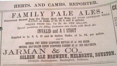 Advert for Jarman's Invalid and A1 Stout | Herts & Cambs Reporter, Jan 3 1890