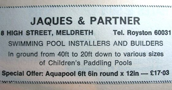 Advert for Jacques & Partners Pool Shop (no longer trading) | Meldreth W.I.