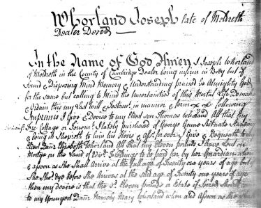 An extract from Joseph Worland's will | Courtesy of Walter Worland
