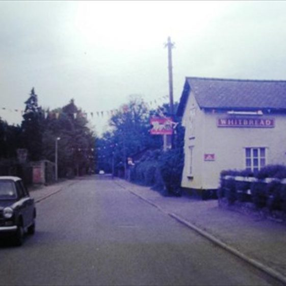 High Street, Meldreth decorated with bunting for the Queen's Jubilee.  1977 | Photo supplied by Meldreth W.I.