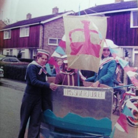 Clare, Louise and Charles Walford with their entry for the Queen's Jubilee parade | Meldreth WI scrapbook