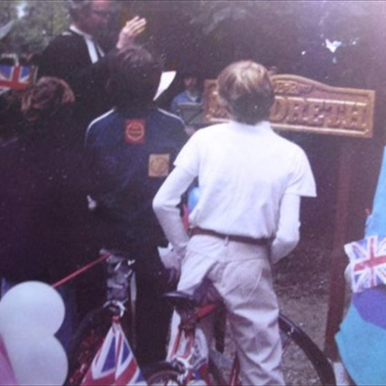 Dedication and unveiling of the village sign on the Stocks Green, by Rev. Alan Heawood | Meldreth WI scrapbook