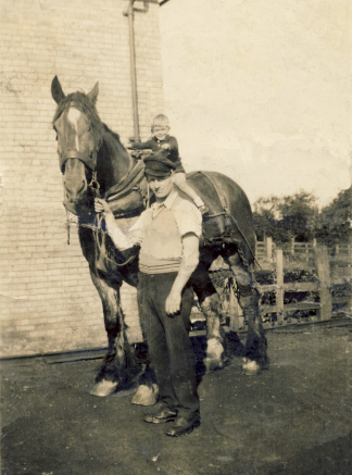 Herbert (Bert) Winter with Tom, the shunt horse ~1936.  Bert's son, Ken, is the boy sitting on Tom | Ken Winter