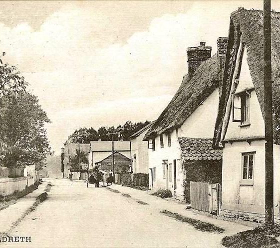 High Street, Meldreth looking north.  Keys Cottage is in the foreground.  The horse and cart are outside the bakehouse. c. 1925 | Photo supplied by Kathryn Betts