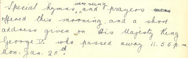 Extract from Meldreth School log book, 21st January 1936 | Photograph courtesy of Meldreth Primary School