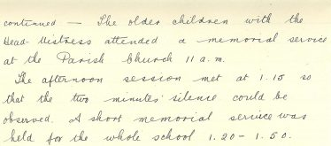 Extract from Meldreth School log book, 28th January 1936 | Photograph courtesy of Meldreth Primary School