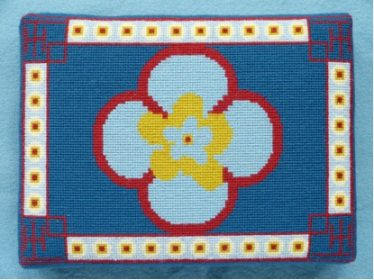 Janet Pilkington Meldreth 2012 - I took the pattern of my kneeler from the stone decoration around the font. | Cross stitch