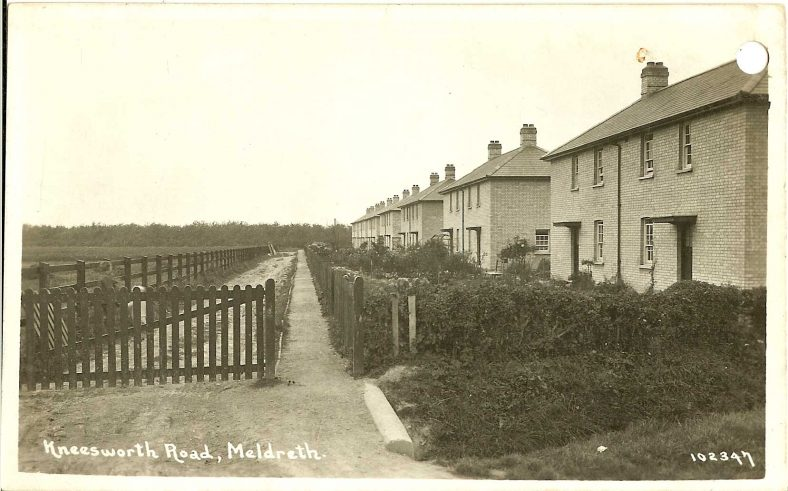102347 Kneesworth Road, Meldreth<br> Now known as West Way. The first row of council houses (pictured) was built in the 1920s and the first residents moved in in 1931. | Bell's postcard supplied by Ann Handscombe