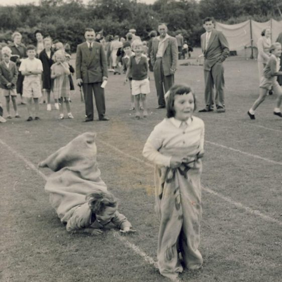 Linda Cooper (became Clarke) winning the sack race at the Atlas Sports Day in 1959 | Linda Clarke