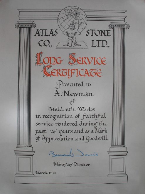 An Example of a 25 Year Long Service Award Certificate | Alick Newman
