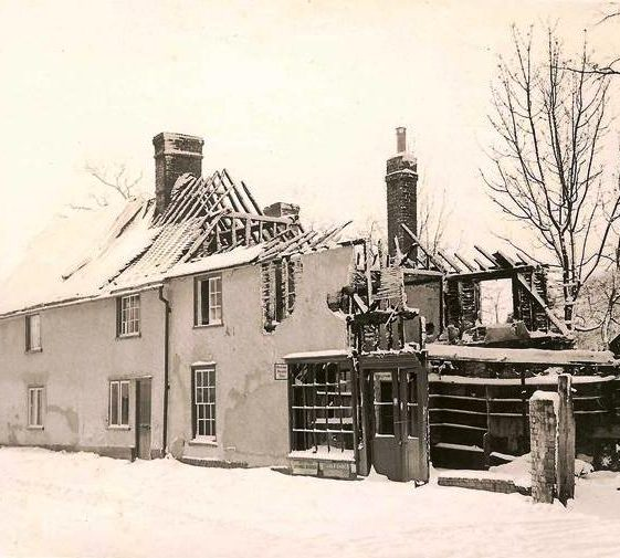 Leverington's shop High Street, Meldreth following fire in 1954. | Photo supplied taken by Don Findlay