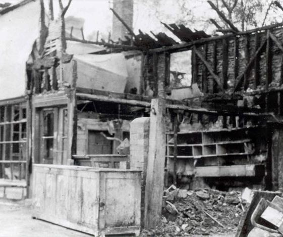 Leverington's store, High Street, Meldreth, following fire in 1954 | Photo supplied by John Gipson