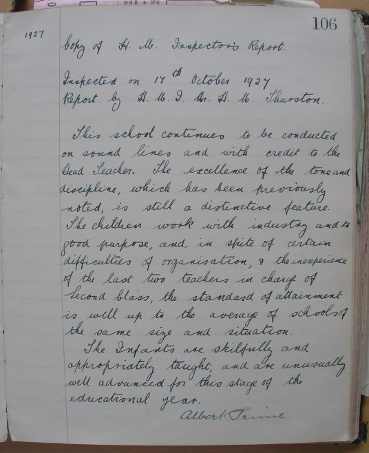 The Inspector's Report, 1927 | Photograph courtesy of Meldreth Primary School