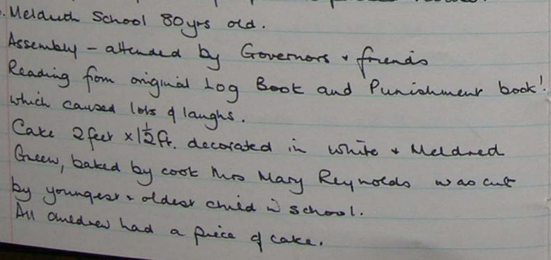 An extract from the school log book for April 1990 | Photograph courtesy of Meldreth Primary School