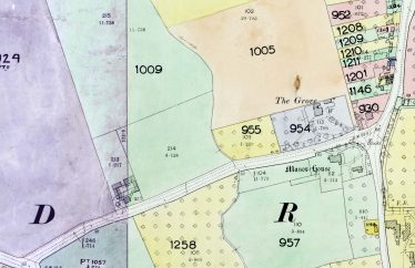 An extract from the 1910 Land Values Duties Map.  Plot 1009 was occupied by Alfred Elbourn and the farmhouse itself by Frederick Waldock | Source: Cambridgeshire Archives