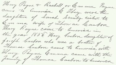Excerpt from Casbon family history, ca. 1890
