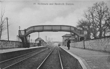 Meldreth and Melbourn Station ~1905.  Note the points which allowed trains on the 'Up' (London) line to cross the tracks to enter the goods yard beside the railway. | Brian Clarke