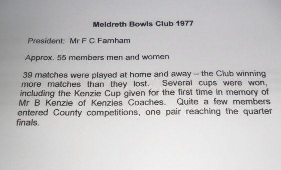 Meldreth Bowls Club 1977 | Meldreth W.I.