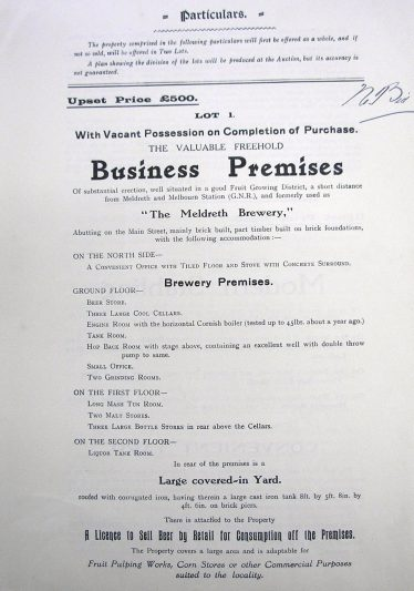 Meldreth Brewery Sale in 1926 page 2 (CRO: 515 SP823) | Courtesy of Cambrdieg Record Office