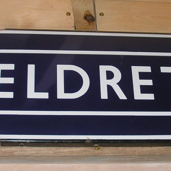 British Rail Station Sign, post 1971. The station name was Meldreth and Melbourn until 1971. | Photo by Tim Gane, courtesy of Mike Sharman
