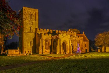 Meldreth Holy Trinity Church at night, Christmas 2017 | Malcolm Woods