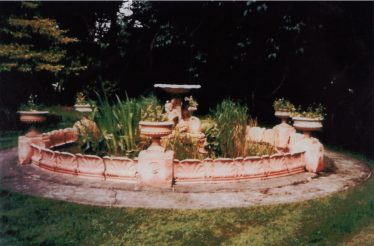 The Royal Doulton fountain in the garden at Meldeth Court ~1980