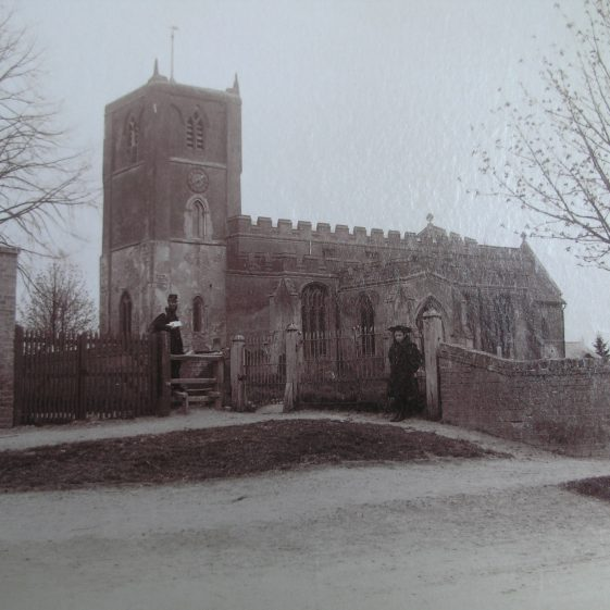 Photograph of Holy Trinity Church, believed to date from between 1875 and 1900, which clearly shows the young horse chestnut tree in the corner of the churchyard | Royston Library