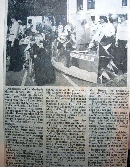 Meldreth Manor School Jubilee celebrations Newspaper Report | Meldreth W.I.