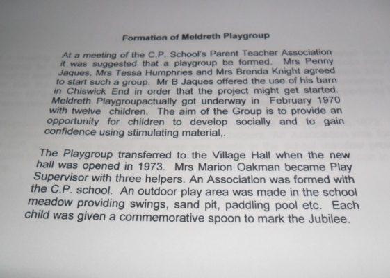 Formation of Meldreth Playgroup 1977 | Meldreth W.I.