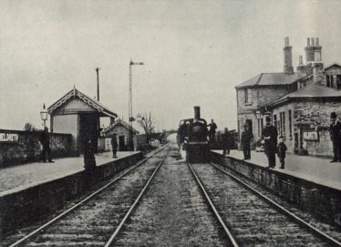 Meldreth Station 1880.  This is the earliest photo we have of Meldreth Station and clearly shows the road bridge in the distance. | The Railway Magazine, September 1952, page 580