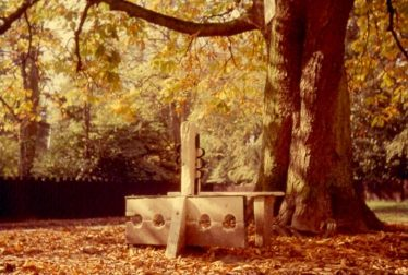 The stocks and whipping post, c. 1975 | Photograph courtesy of Ann Handscombe