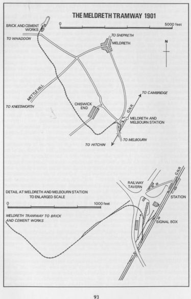 Plan of the Meldreth Tramway in 1901 | Industrial Locomotive, volume 72, page 93